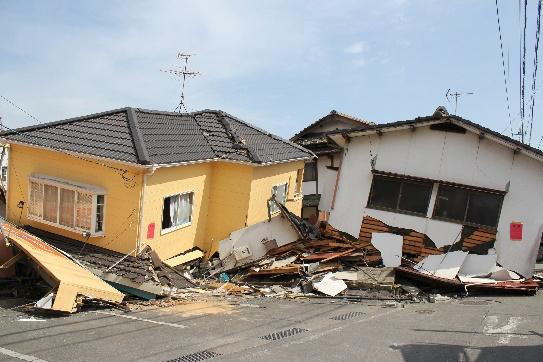 熊本地震で全壊した木造住宅